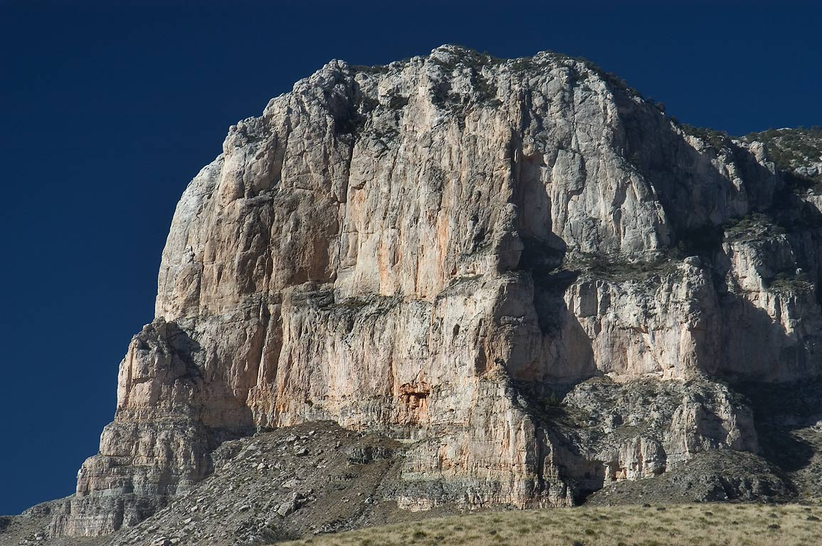 El Capitan Mountain (zoomed), view to the west in Guadalupe Mountains National Park. Texas