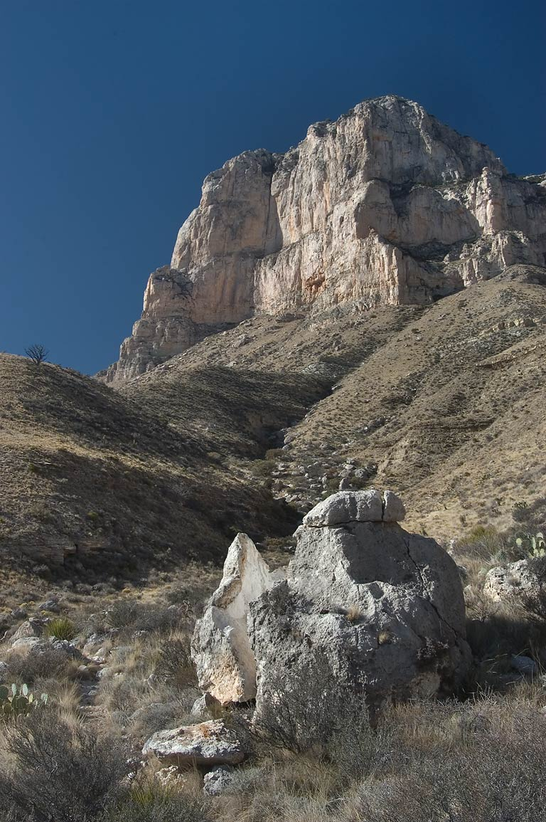 Split rock and El Capitan Mountain from a trail...Mountains National Park. Texas