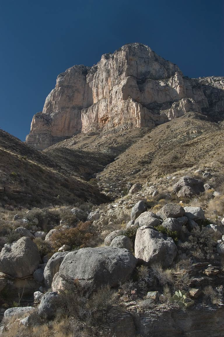 Rocks and El Capitan Mountain from a trail near...Mountains National Park. Texas