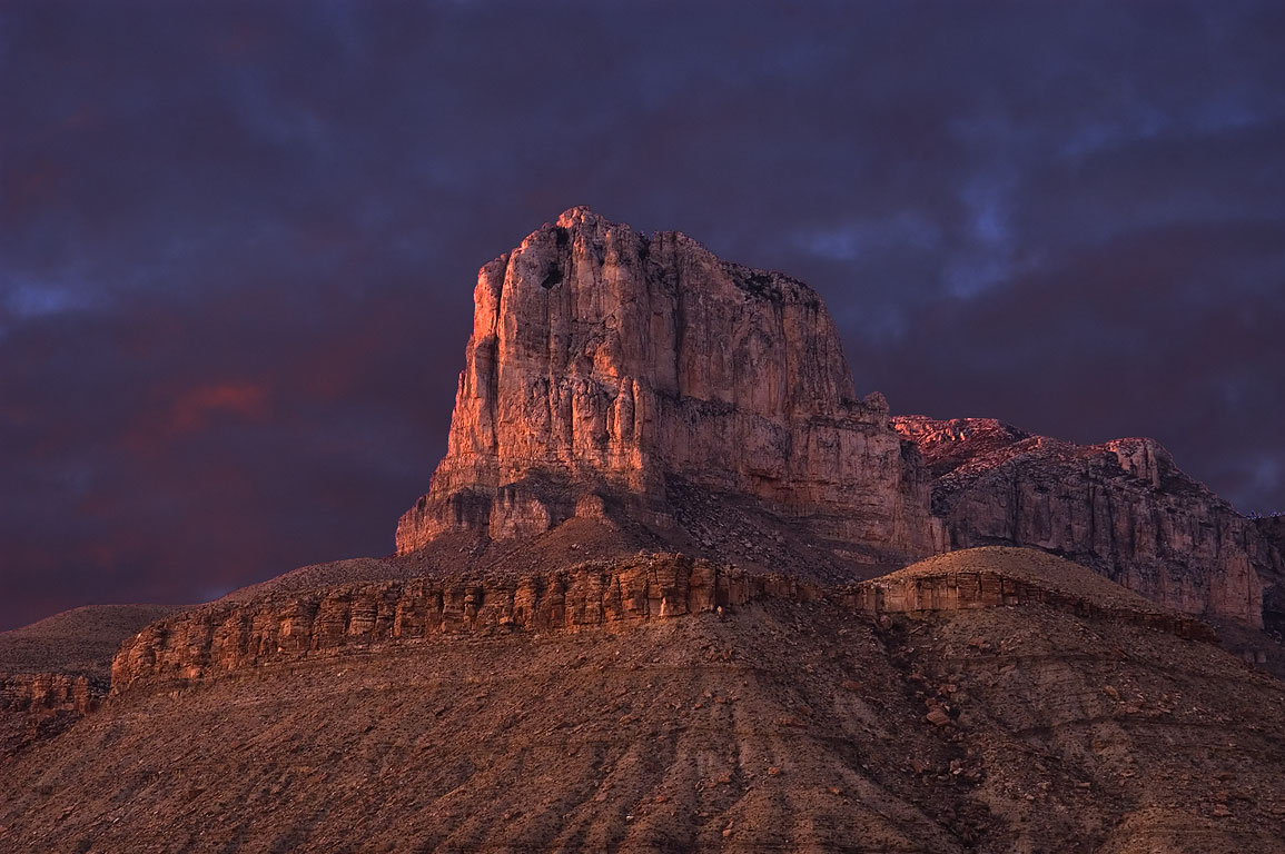El Capitan Mountain after sunset, view from lower...Mountains National Park, Texas