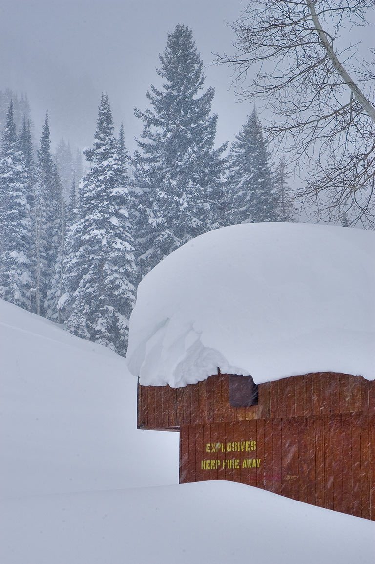 Shack for explosives in snow on Chip's Face Rd...Cliff Lodge in Snowbird Ski Area. Utah