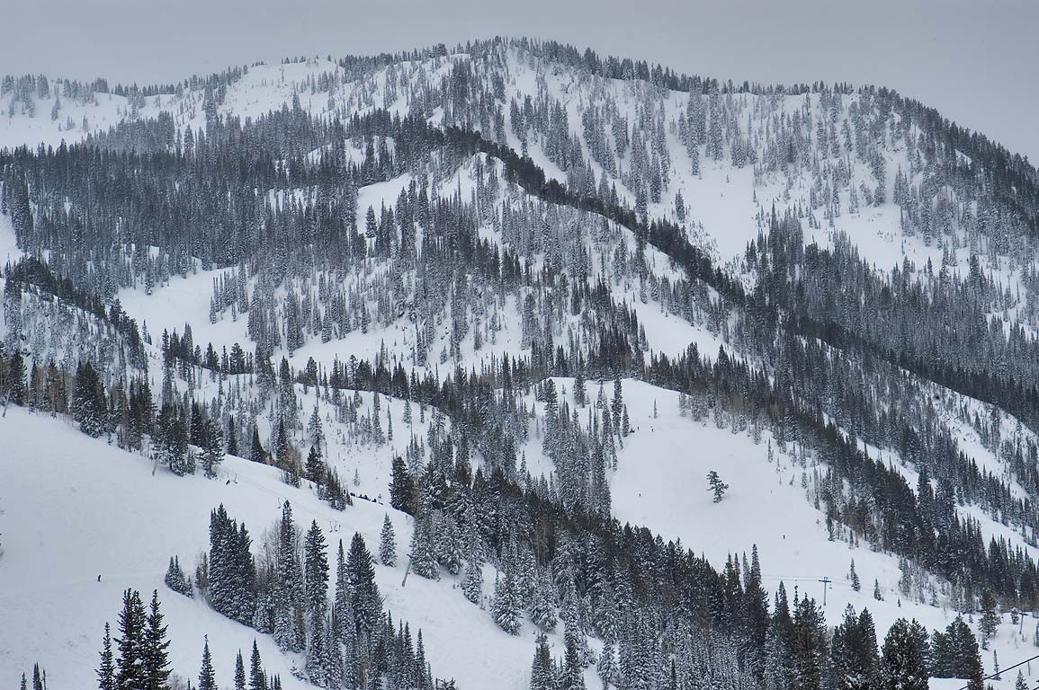 Mountains in direction of Thunder Bowl and...place in Snowbird Ski Area. Utah