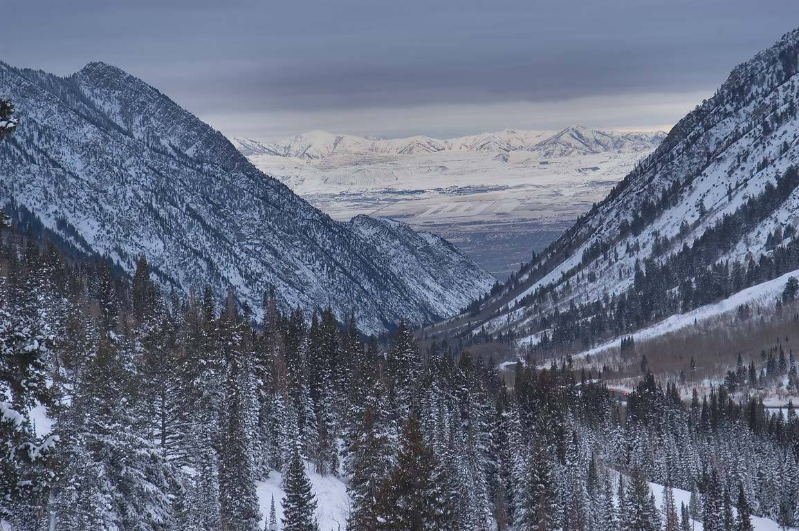 Little Cottonwood Canyon and Salt Lake Valley...Gad Valley in Snowbird Ski Area. Utah