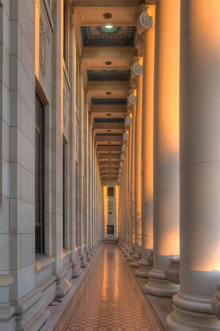 Columns of Administration Building on campus of...M University. College Station, Texas