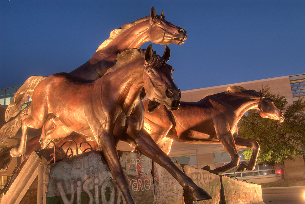 "Horse statue ""The Day the Wall Came Down"" near...M University. College Station, Texas"