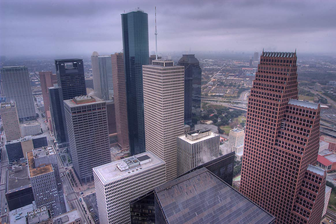 Downtown south-west from Chase Tower. Houston, Texas