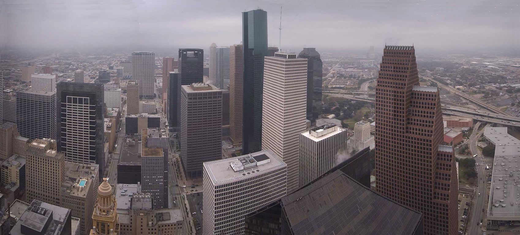 Panorama of downtown from Chase Tower. Houston, Texas
