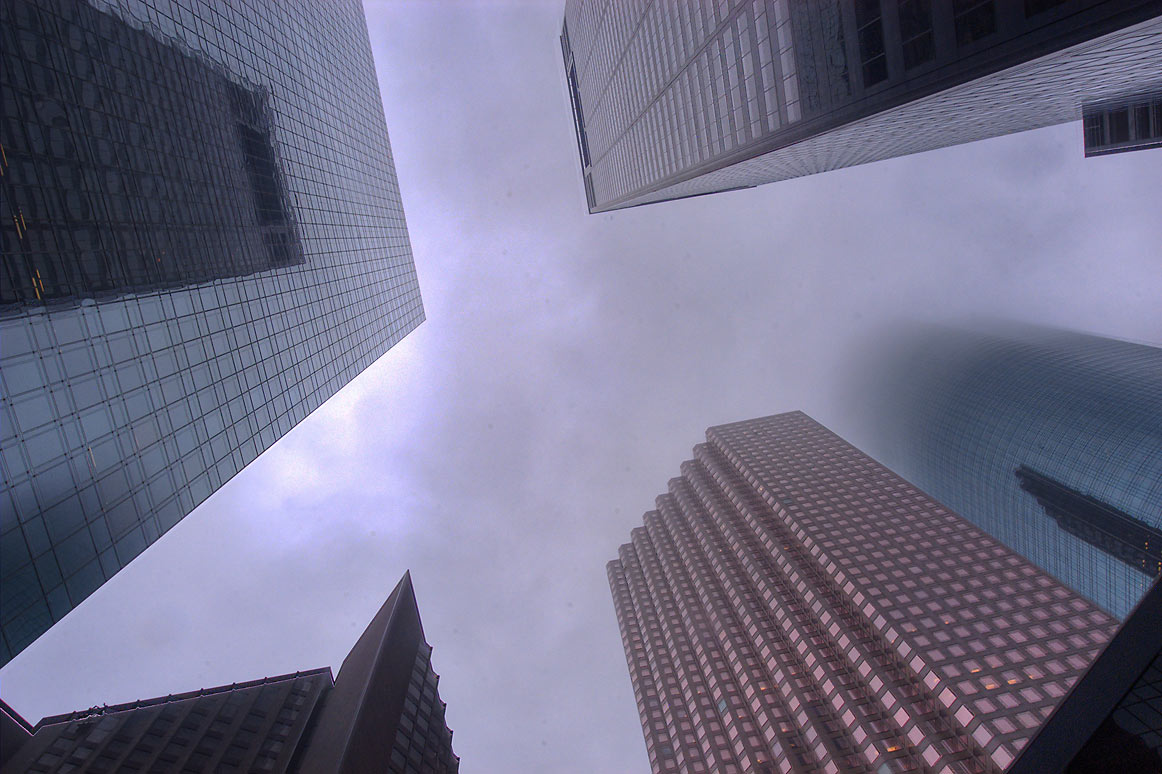 Looking up from a corner of Dallas and Louisiana streets. Houston, Texas