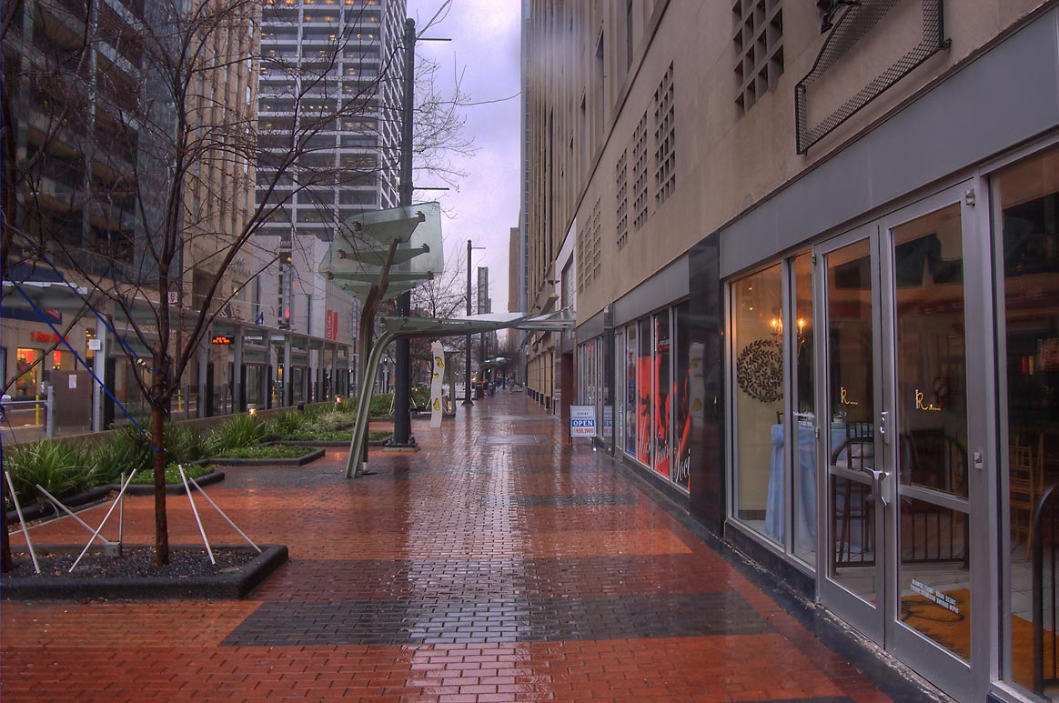 Main St. in downtown at rain. Houston, Texas