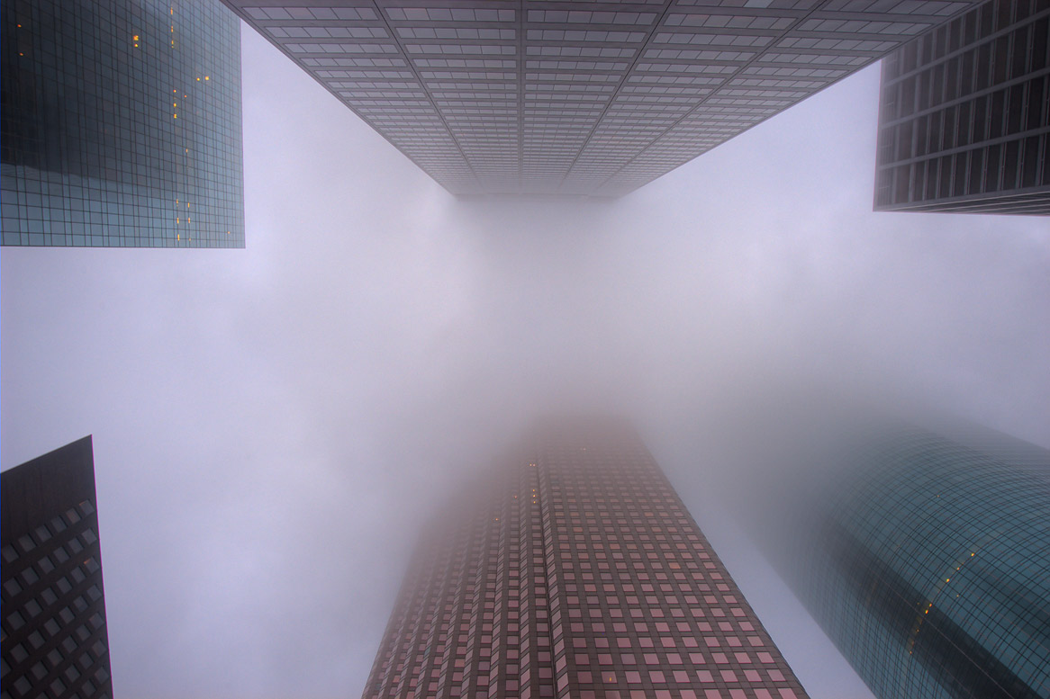 Louisiana St. between Dallas and Lamar streets in fog. Houston, Texas