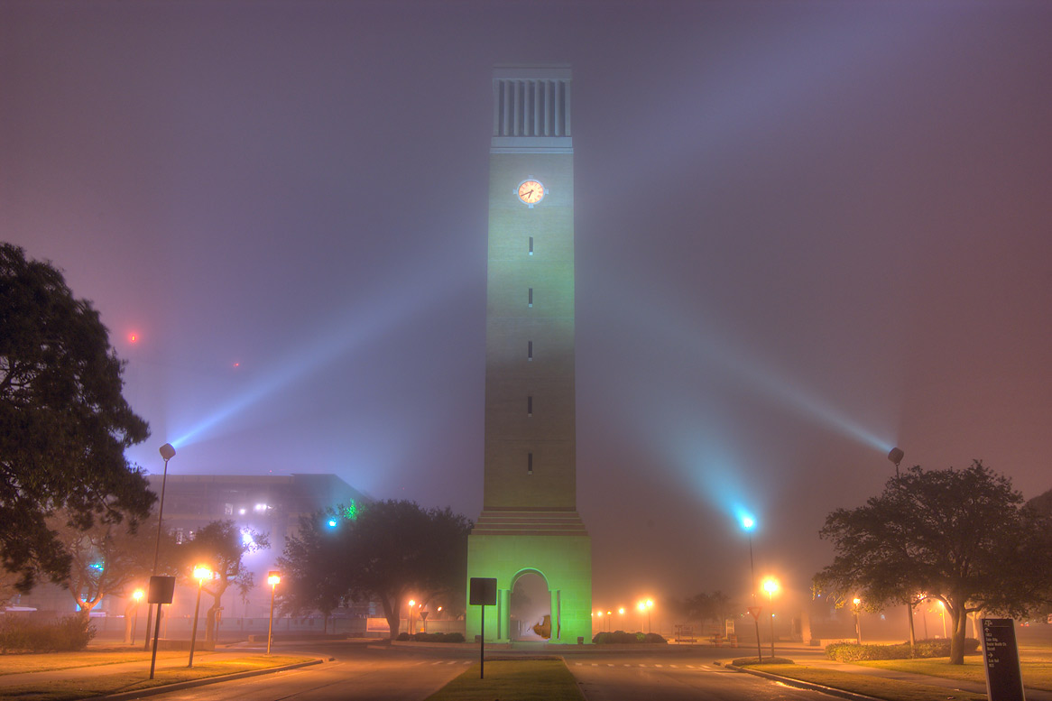 Albritton Tower on campus of Texas A&M...Dr. in fog. College Station, Texas
