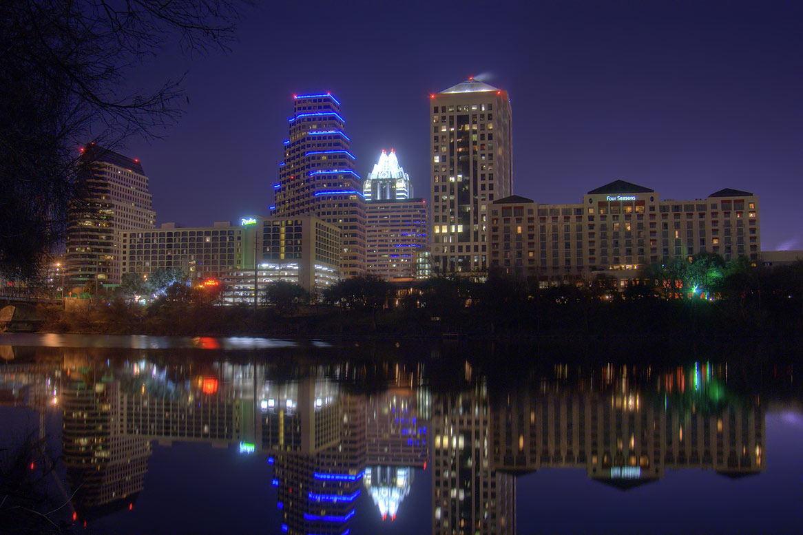 Town Lake, Shoal Beach and downtown from a path...Congress Ave. Bridge. Austin, Texas