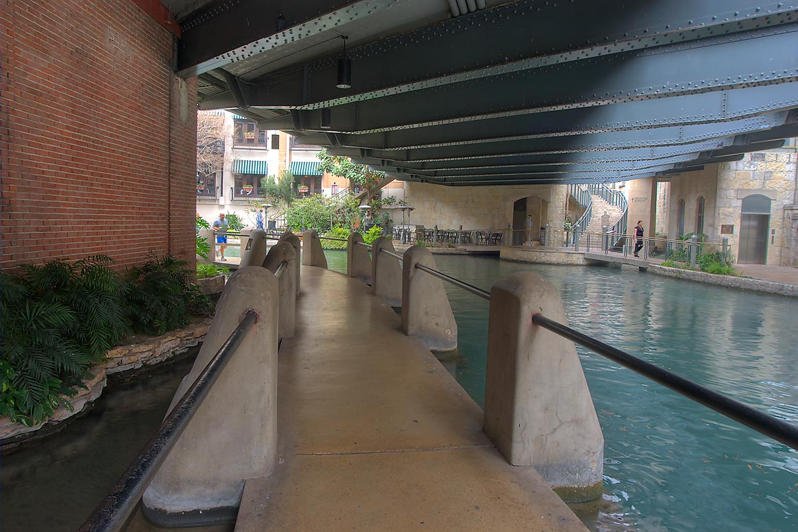 River Walk under E. Houston Street Bridge. San Antonio, Texas