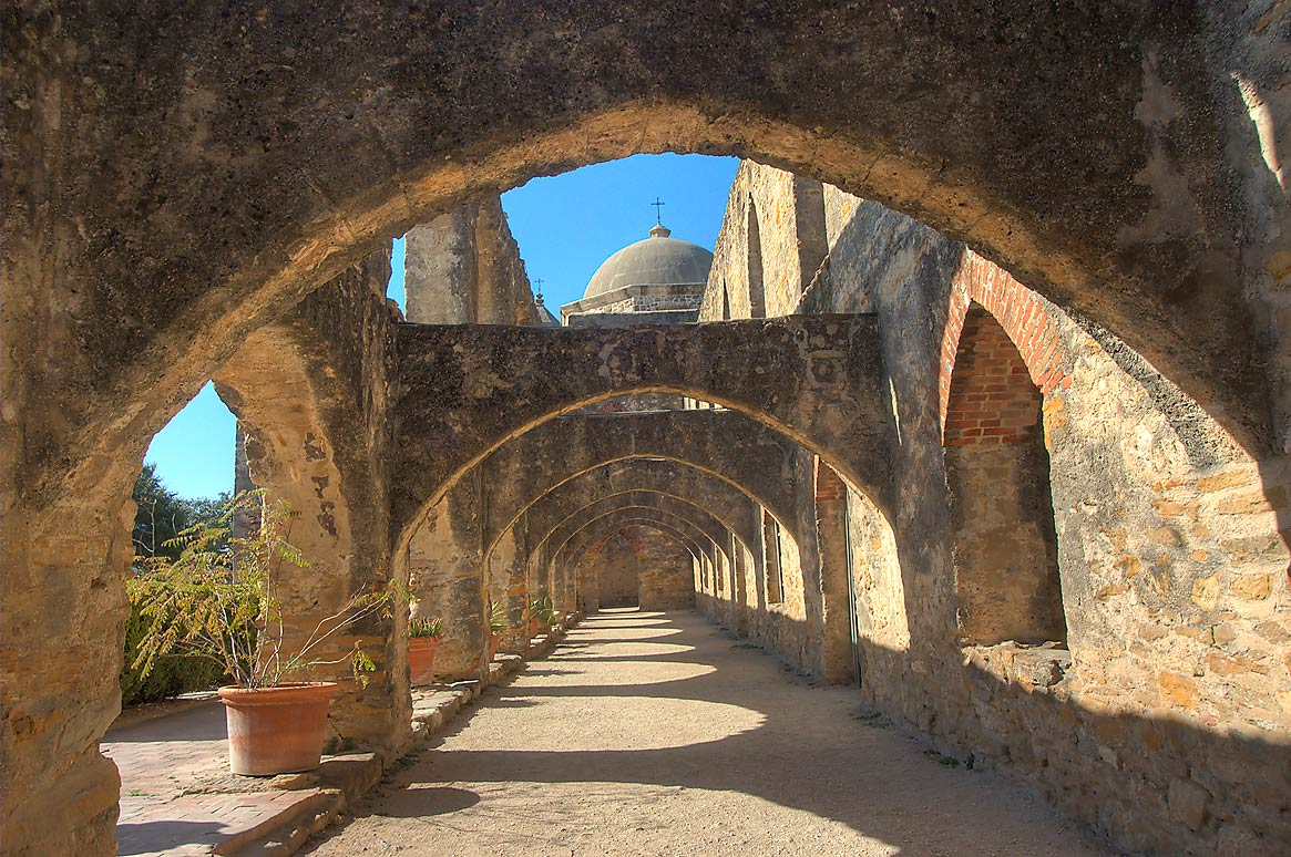 Stone arches in Mission San Jose. San Antonio, Texas