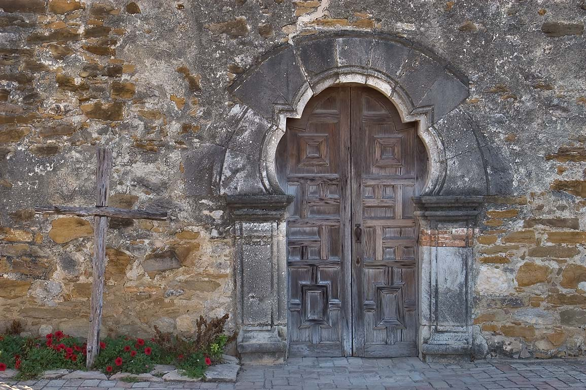 Church entrance in Mission Espada. San Antonio, Texas