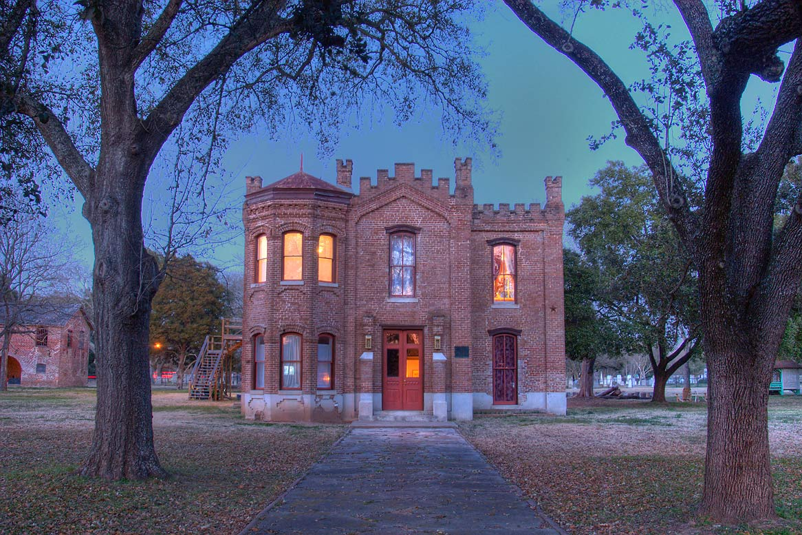 Hammond House, a former courthouse and jail, at 604 Elm St. at evening. Calvert, Texas