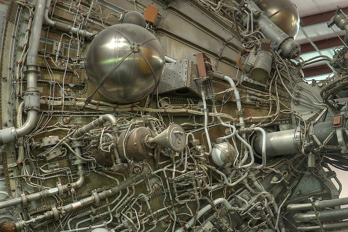 Tubes and wires of Saturn Rocket in NASA Space Center Museum. Houston, Texas