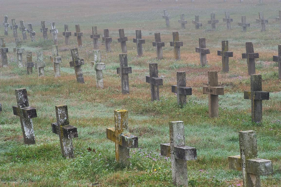 Rows of crosses in TDCJ Captain Joe Byrd...Cemetery in fog. Huntsville, Texas