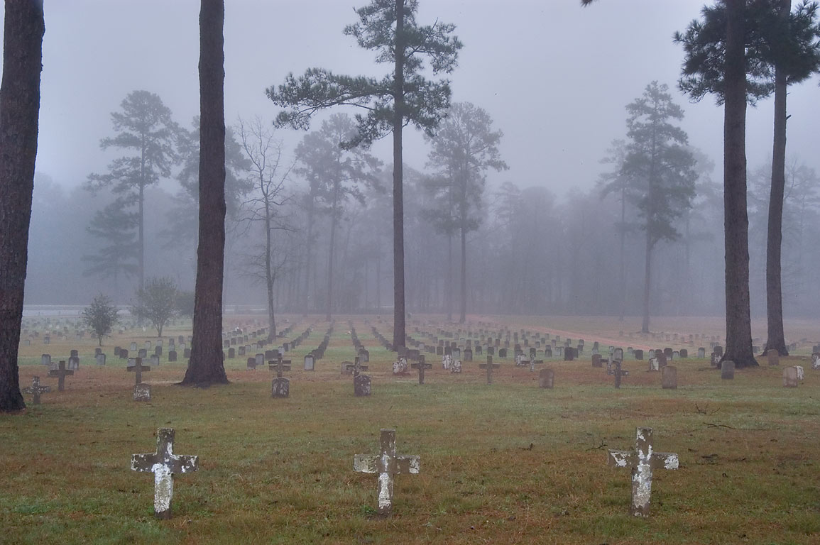 Captain Joe Byrd (Peckerwood Hill) Cemetery in fog. Huntsville, Texas