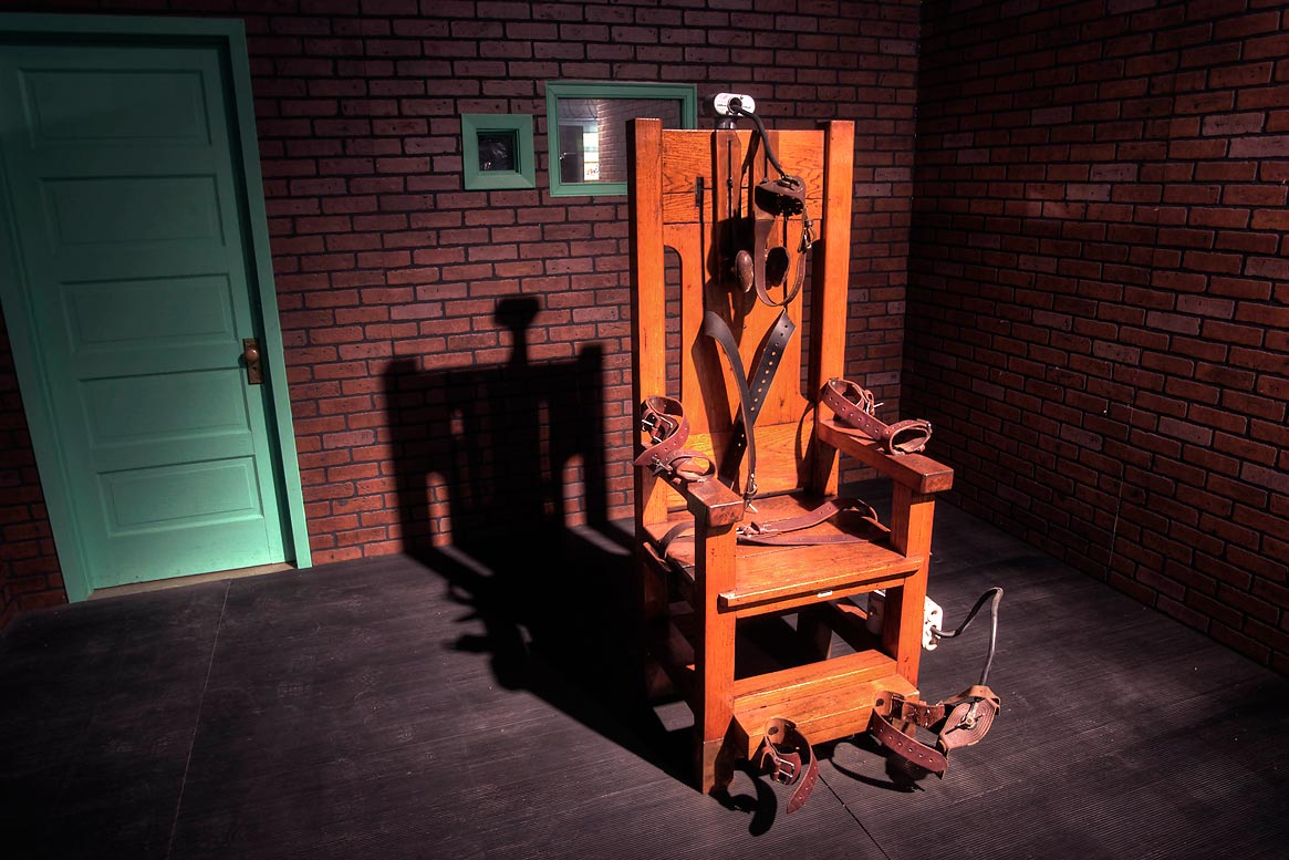 Old Sparky electric chair used for capital...in Prison Museum. Huntsville, Texas