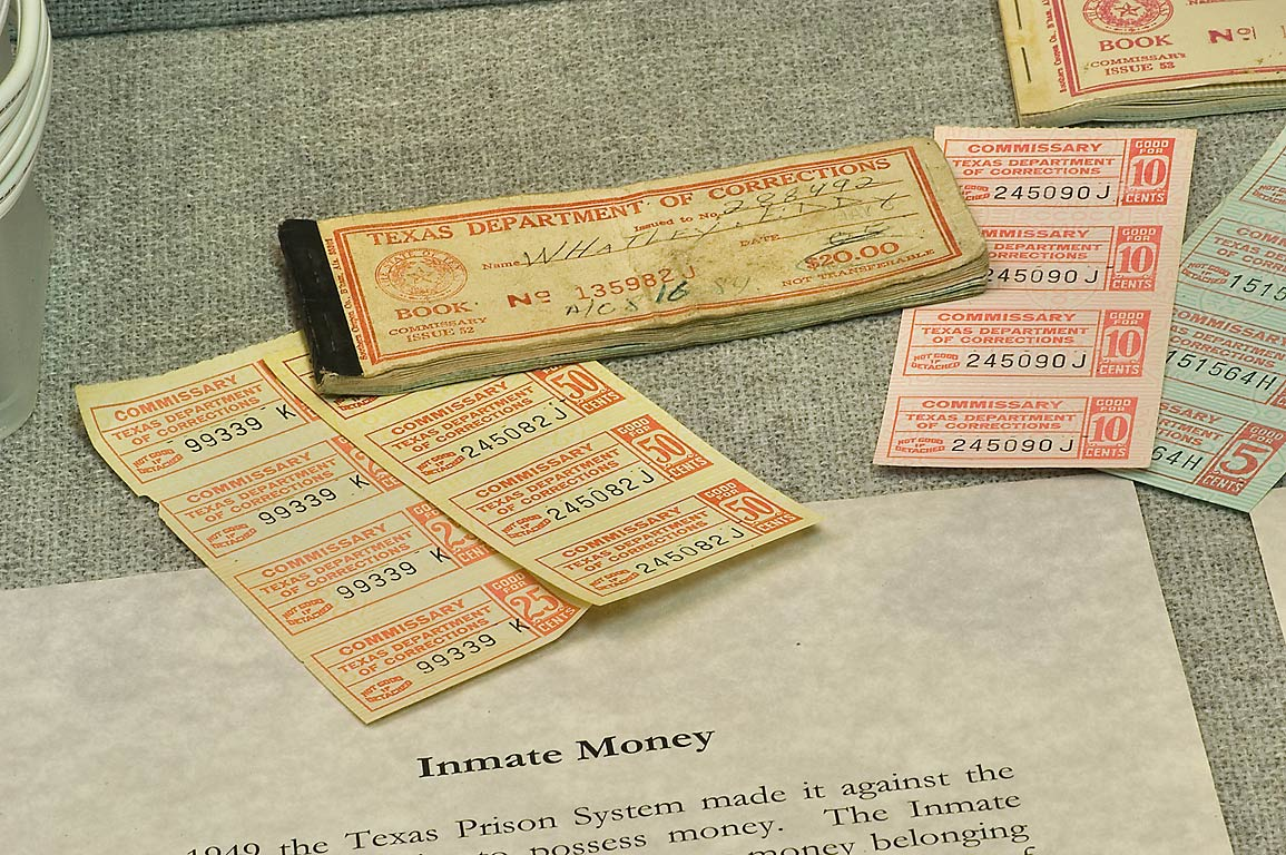 Inmate money printed by Texas Prison System in Prison Museum. Huntsville, Texas