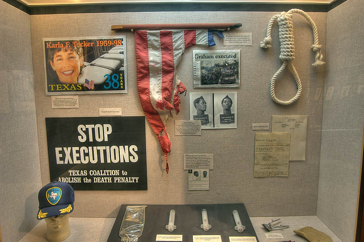 Death penalty protests on exhibit in Prison Museum. Huntsville, Texas