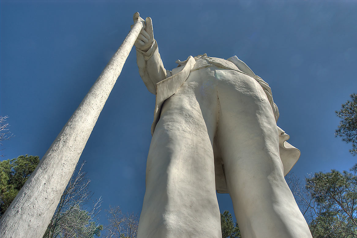 Monstrous statue of Sam Houston at Rd. 45. Huntsville, Texas
