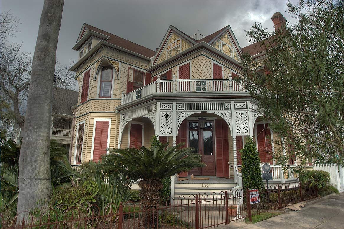 Beissner House (1887) at 1702 Ball St. in East End Historic District. Galveston, Texas
