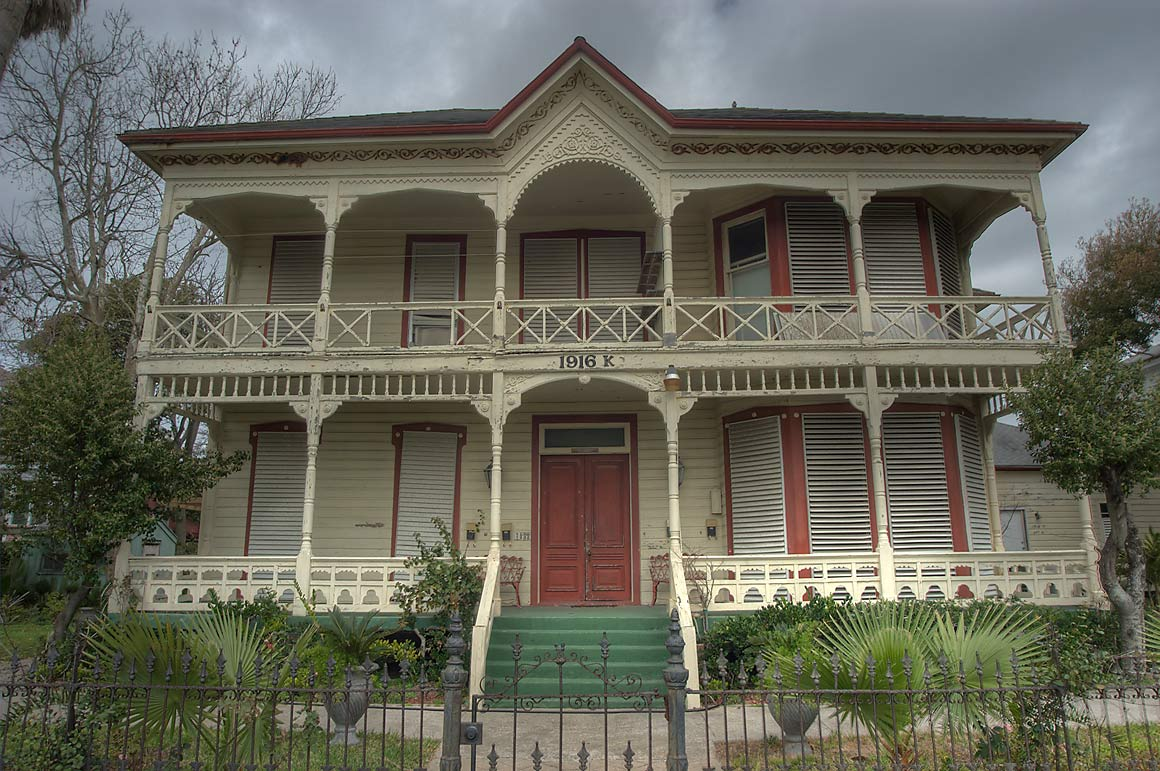 House at 1916 Ave. K in Lost Bayou Historic District. Galveston, Texas