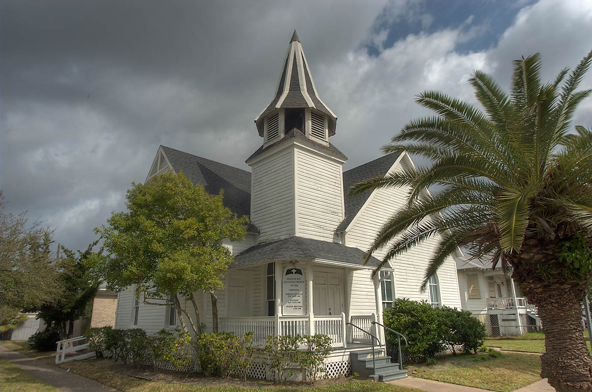 Seventh-Day Adventist Church at a corner of 17th...Historic District. Galveston, Texas