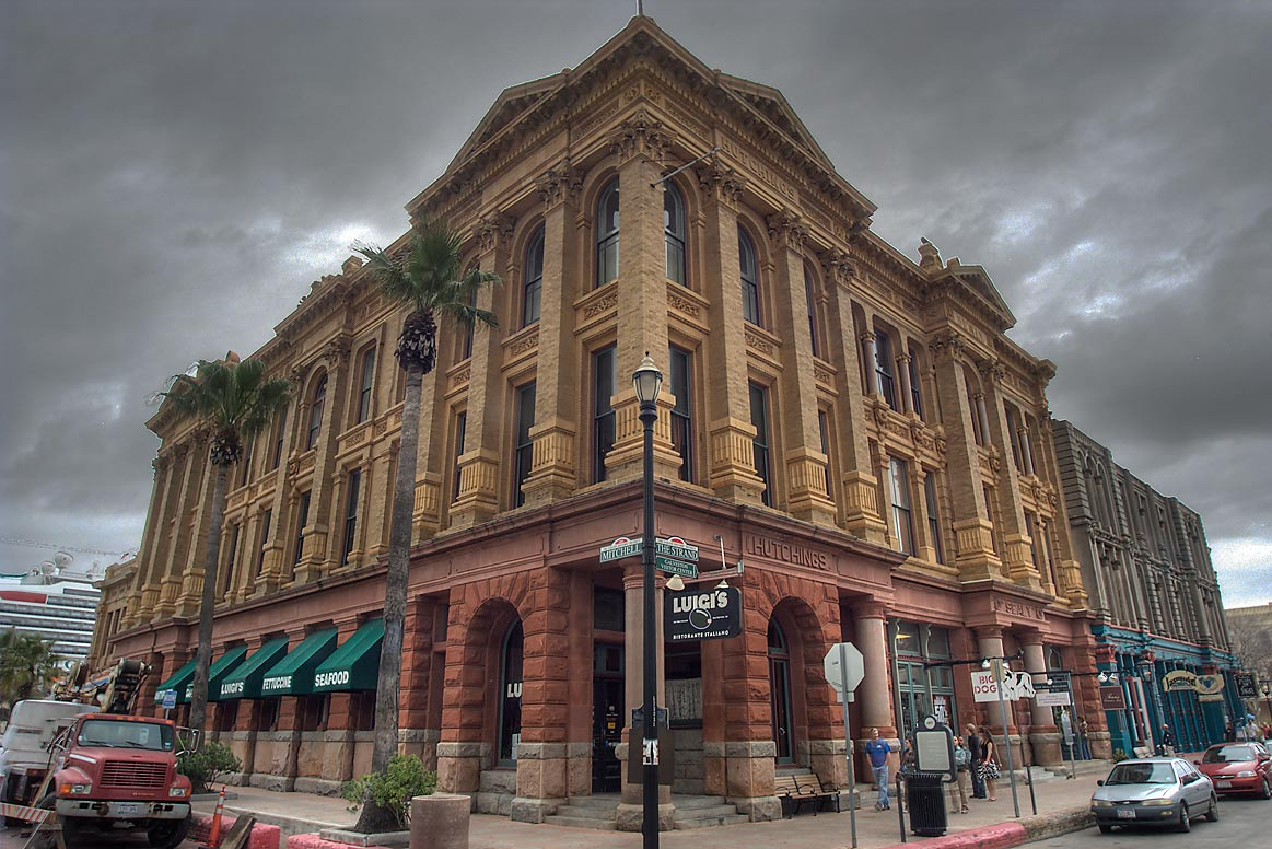 Hutchings-Sealy Building (c. 1895) at a corner of Strand Ave.. Galveston, Texas