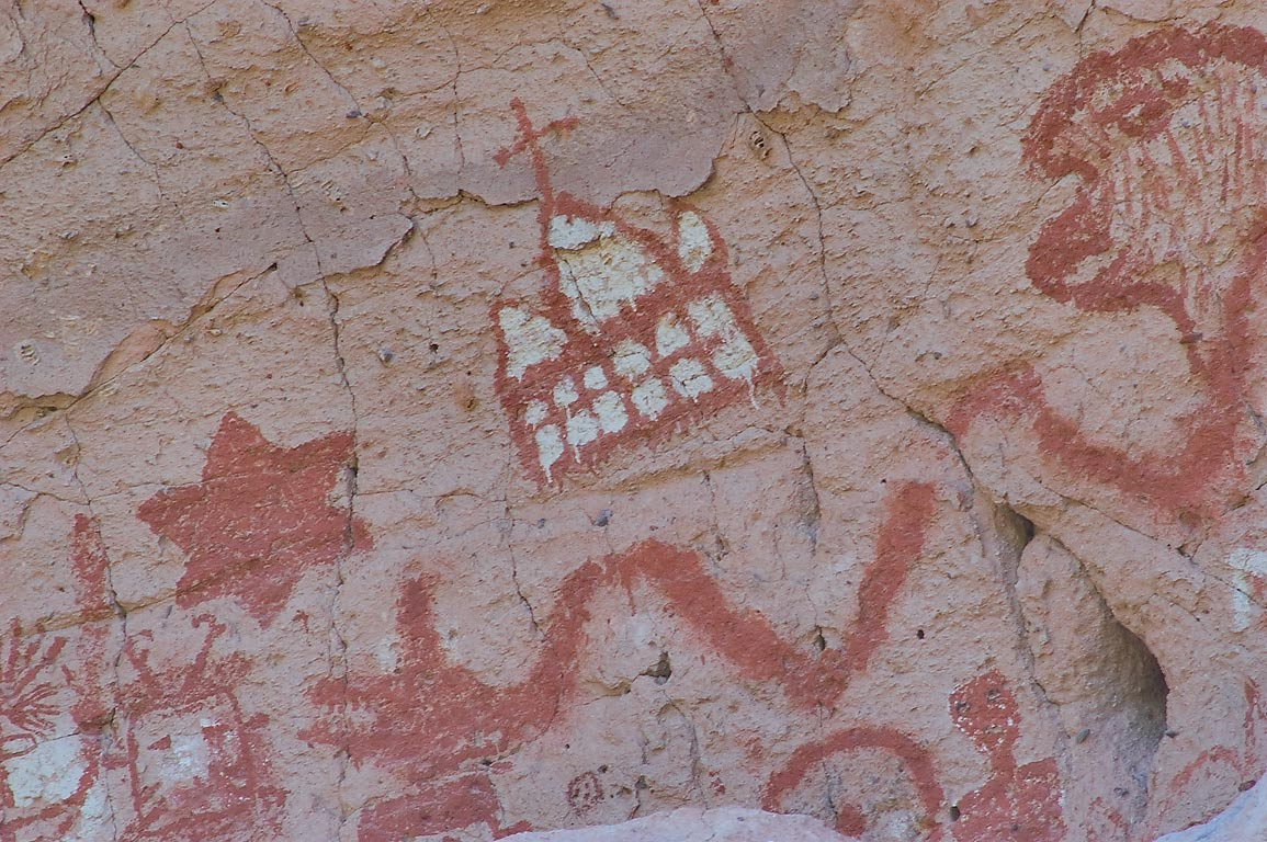 Petroglyphs of Painted Cave in Capulin Canyon in...Monument. New Mexico, near Los Alamos