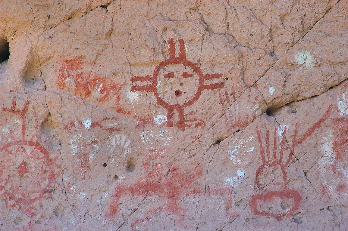 Rock art of Painted Cave in Capulin Canyon in...Monument. New Mexico, near Los Alamos