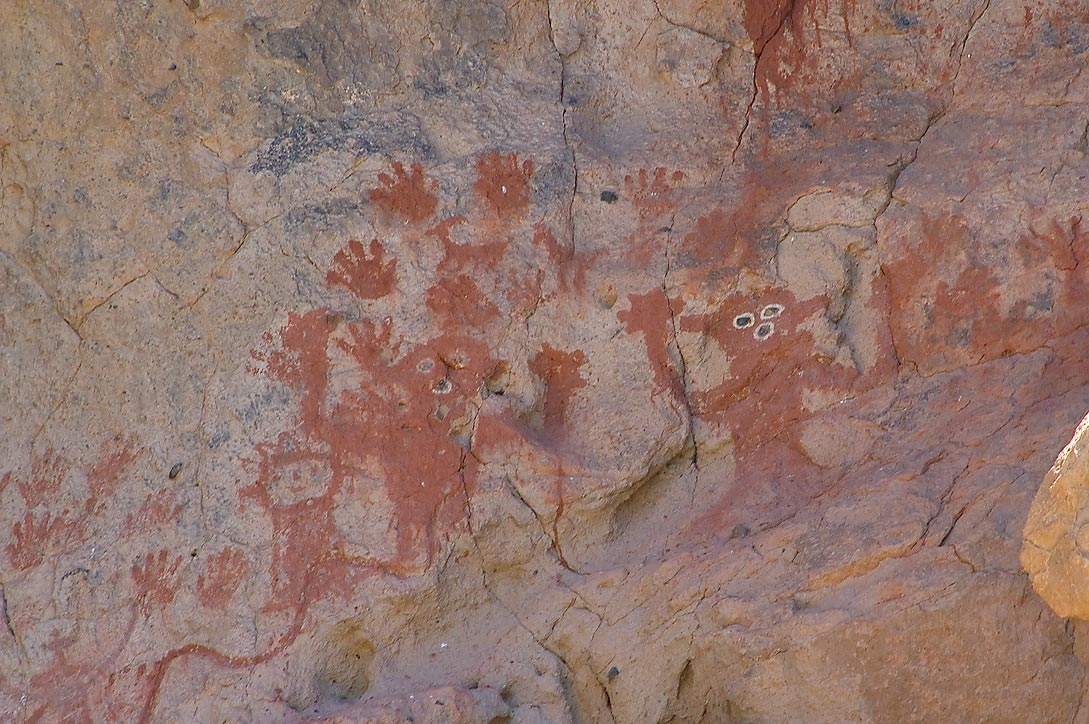 Pictographs of Painted Cave in Capulin Canyon in...Monument. New Mexico, near Los Alamos