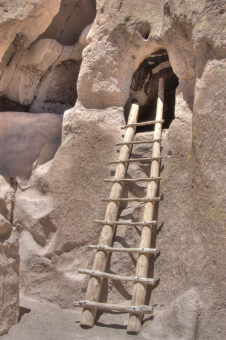 Ladder and ruins behind Visitor Center in...Monument. New Mexico, near Los Alamos