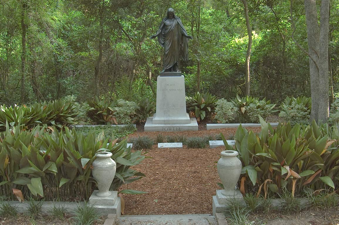 "Bronze statue of robed Jesus Christ (""Blessing...of Oakwood Cemetery. Huntsville, Texas"