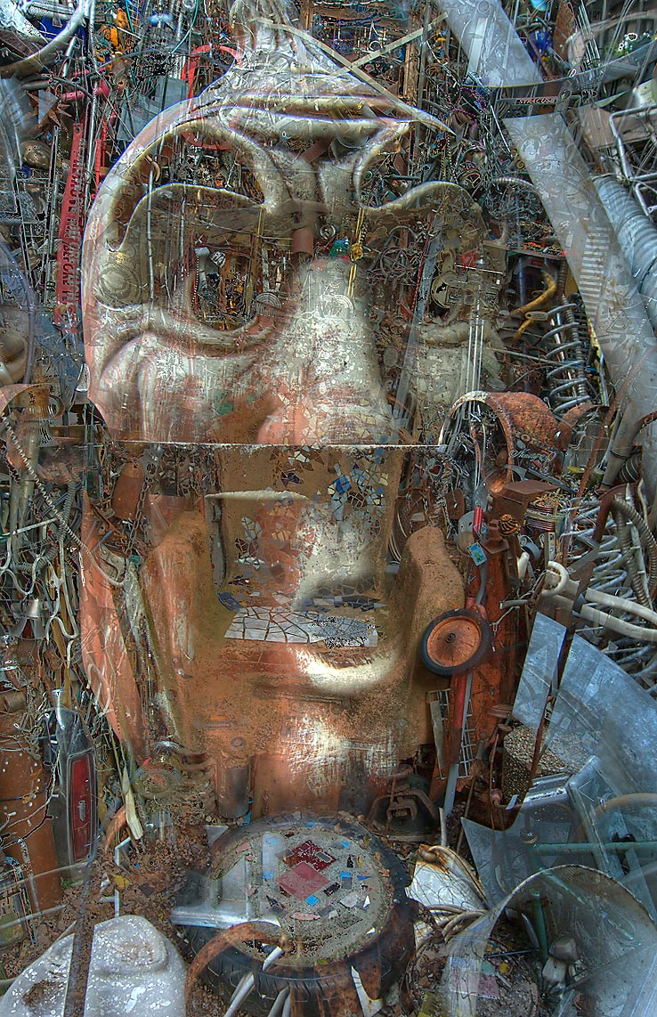 Cathedral of Junk (superimposed images) at 4422...s backyard folk art). Austin, Texas