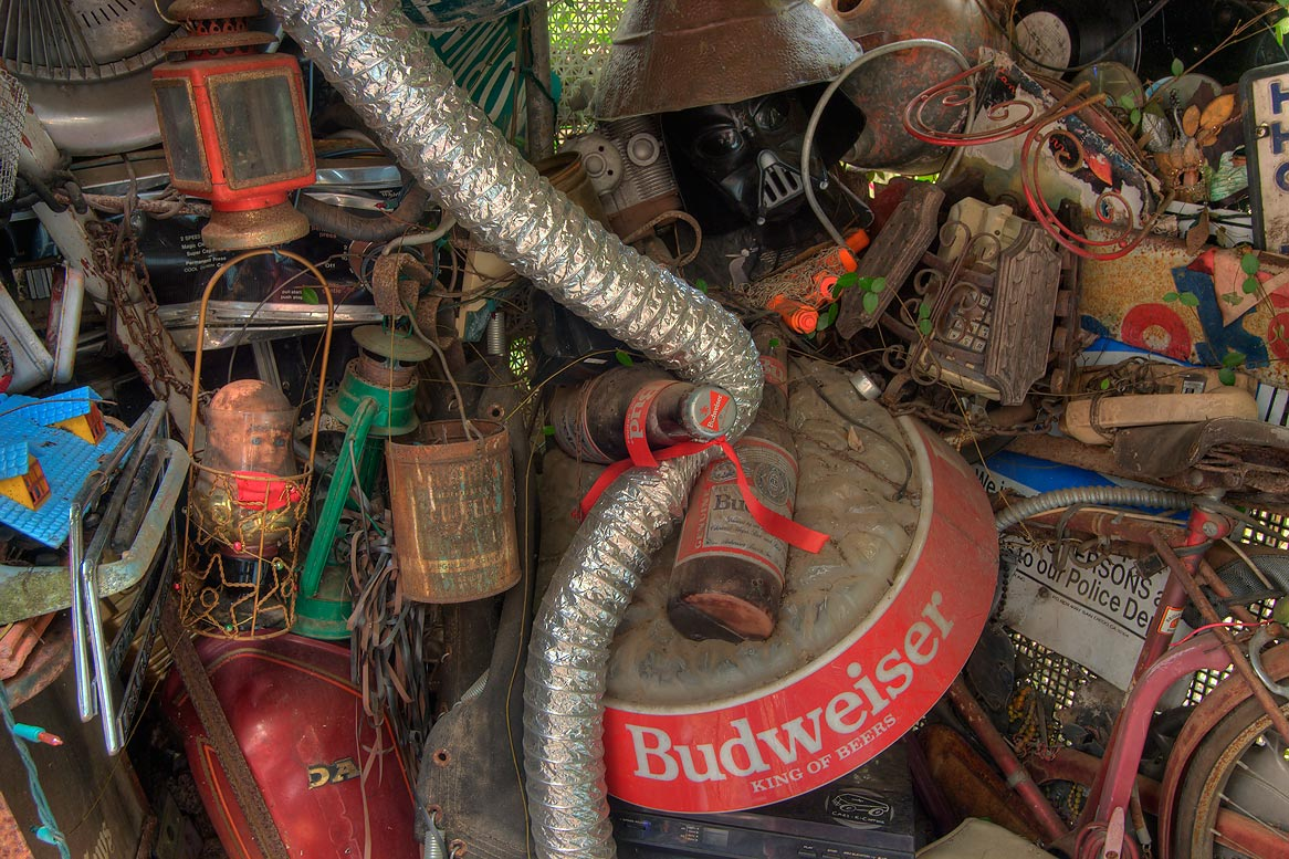 Detail of an alcove in Cathedral of Junk at 4422...s backyard folk art). Austin, Texas