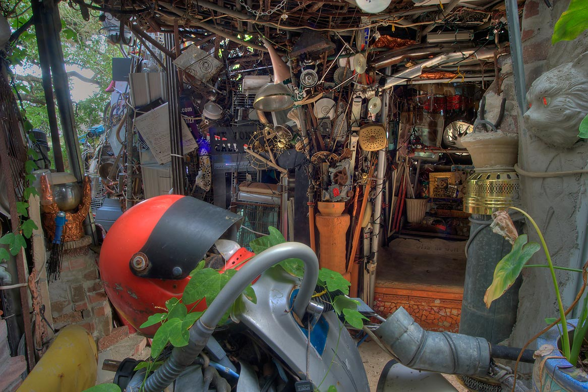 Motorcycle Room in Cathedral of Junk at 4422...s backyard folk art). Austin, Texas