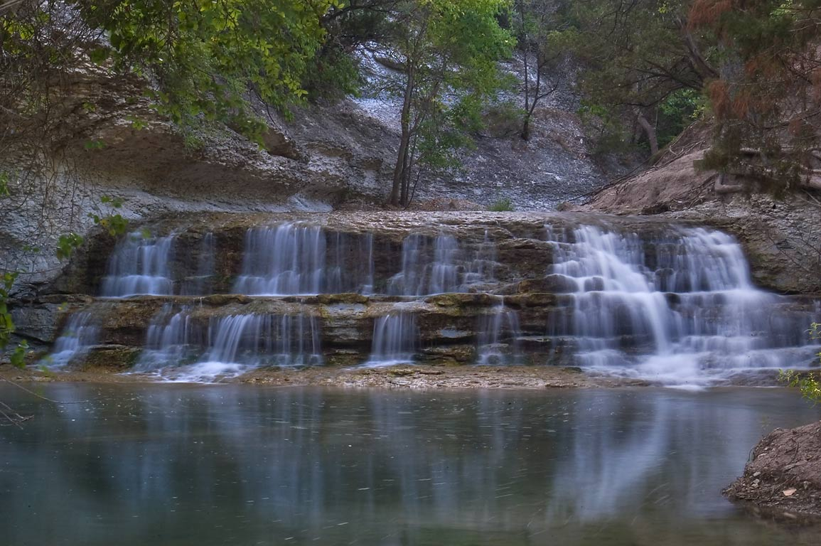 Waterfall of Chalk Ridge Falls Park, below a dam...Hollow Lake. Belton-Killeen, Texas