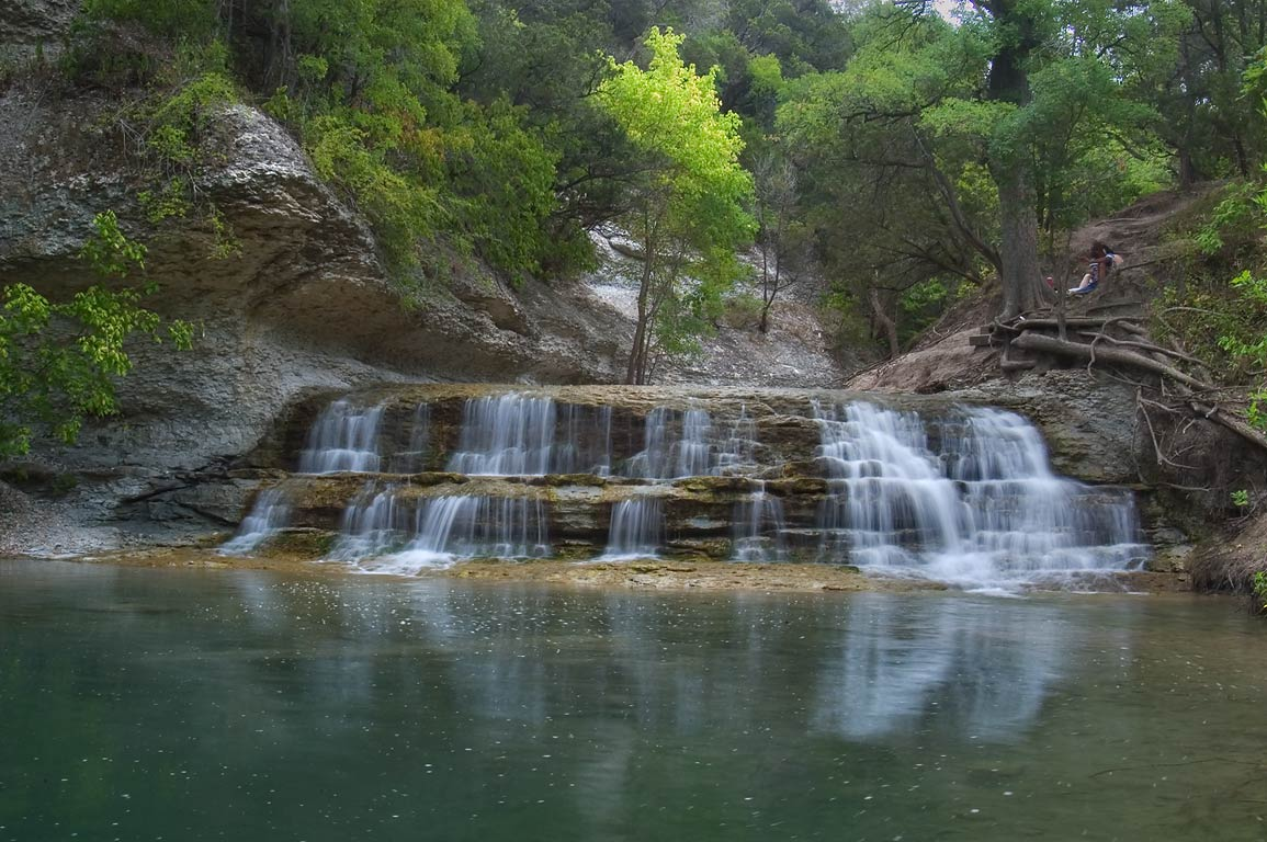 Waterfall and a pond of Chalk Ridge Falls Park...Hollow Lake. Belton-Killeen, Texas