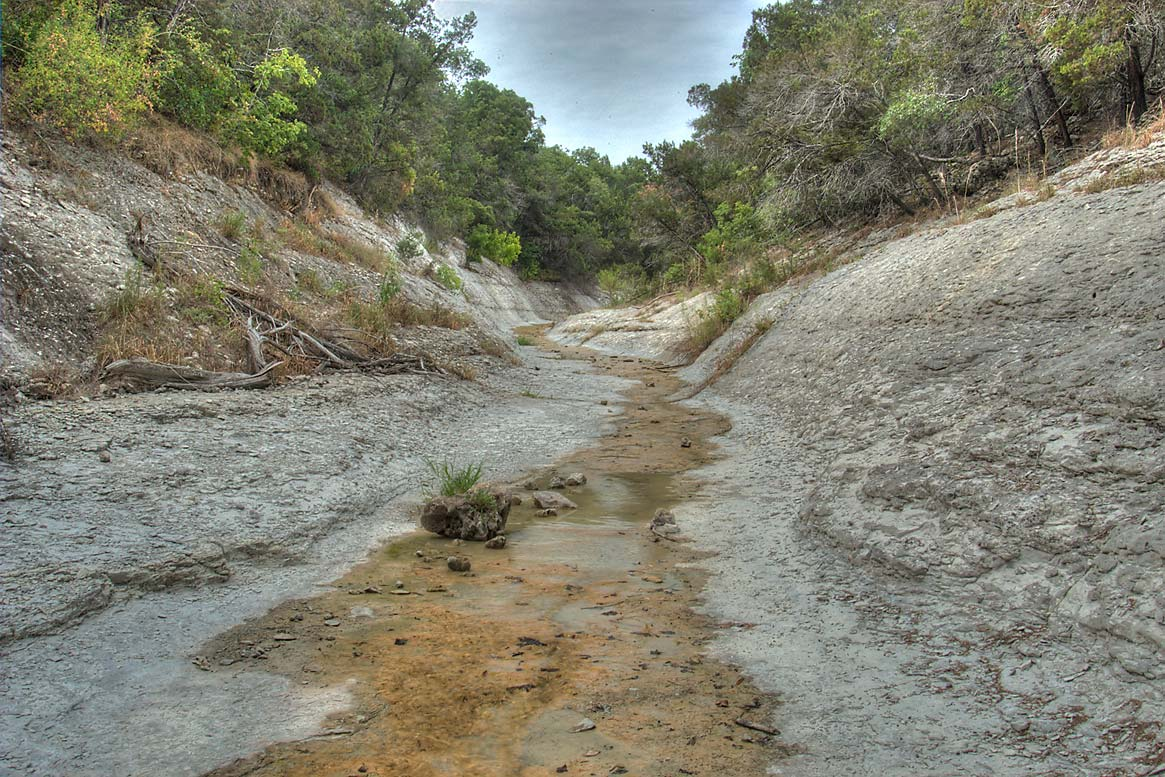 River bed of a tributary of Lampasas River near...Hollow Lake. Belton-Killeen, Texas