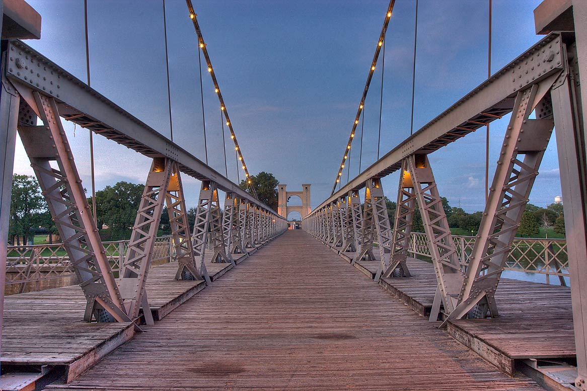 Waco Suspension Bridge at evening. Waco, Texas