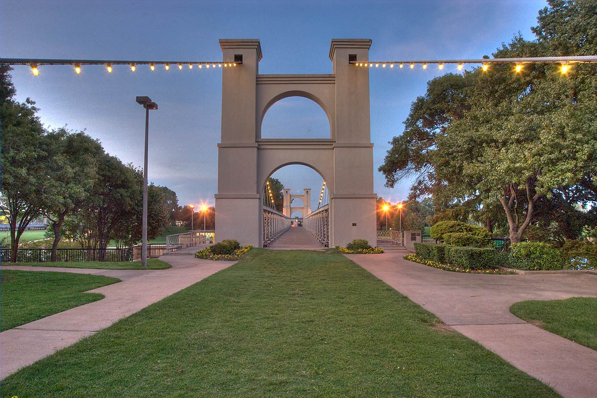 Waco Suspension Bridge, south-west entrance. Waco, Texas