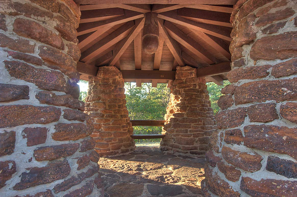 CCC pavilion at an overlook in Lost Pines State Park. Bastrop, Texas