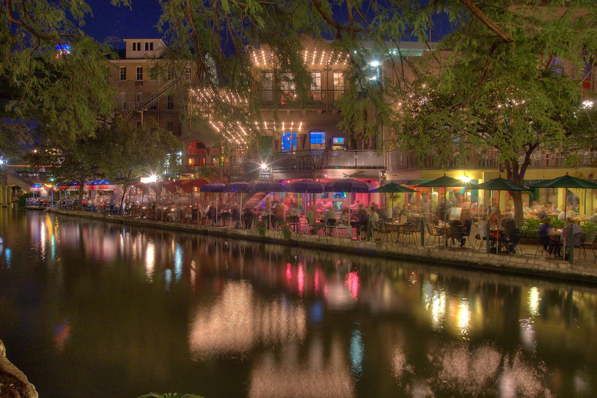 Restaurant in area of Navarro St. at Riverwalk at evening. San Antonio, Texas