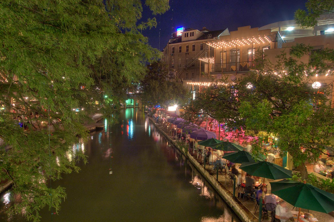 Riverwalk at evening, view from a foot bridge. San Antonio, Texas