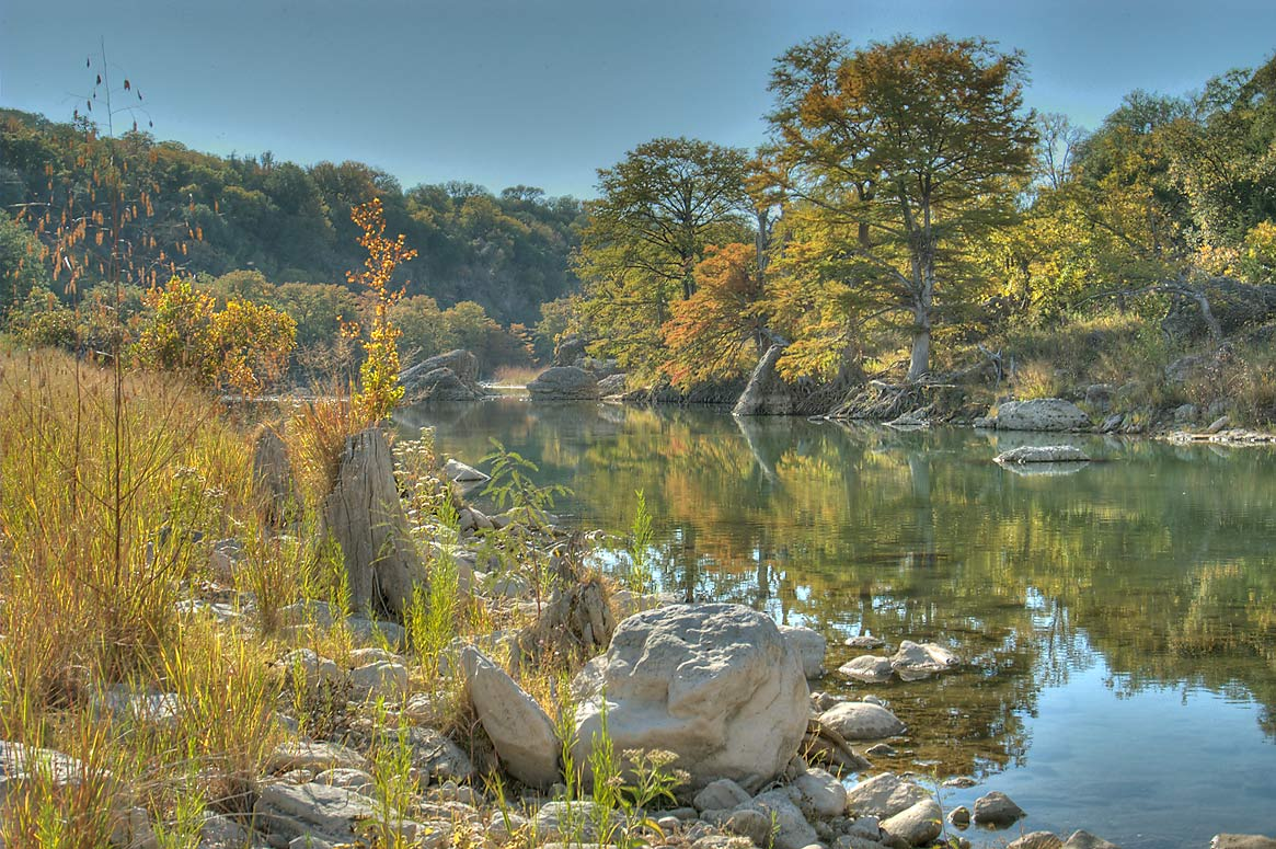 View from opposite side of the river downstream...Falls State Park. Johnson City, Texas