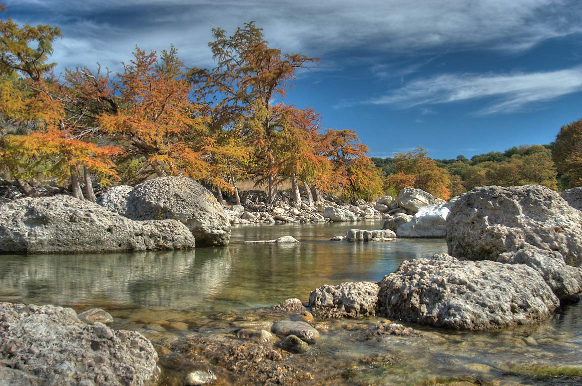 Beach Area in Pedernales Falls State Park. Johnson City, Texas