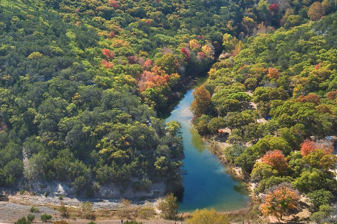 Ponds of Can Creek from an overlook of East Trail...State Natural Area. Vanderpool, Texas
